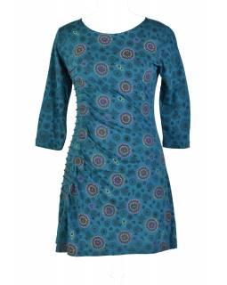 Modré šaty s tříčtvrtečním rukávem a celopotiskem mandal, sklady na boku, výši