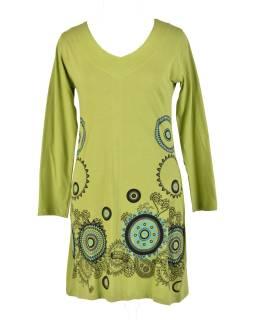 Zelené šaty s dlouhým rukávem, mandala potisk