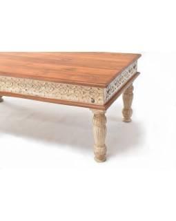 Konferenční stolek z teakového dřeva, ruční řezby, bílá patina, 120x90x45cm
