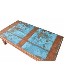 Stolek z teakového dřeva, tyrkysová patina, 165x91x49cm