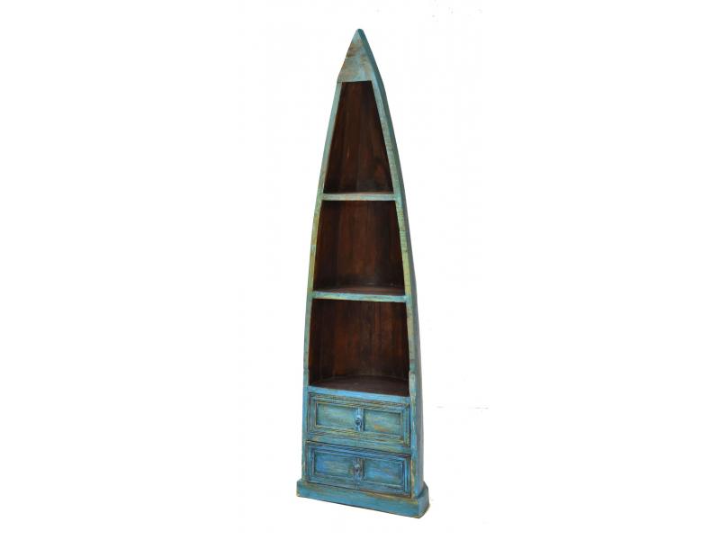 Knihovna z mangového dřeva, ve tvaru lodi, 55x35x190cm