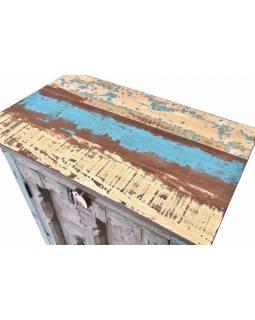 Skříňka z tekového dřeva s původními dvířky, 74x43x107cm