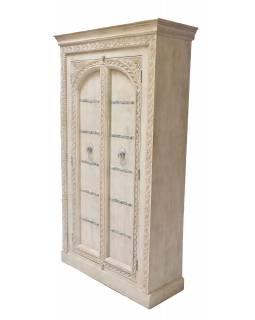 Šatní skříň z mangového dřeva zdobená ručními řezbami, 120x50x200cm
