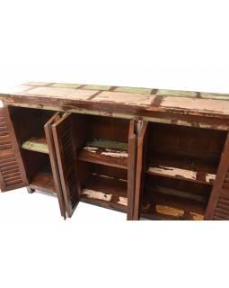"Komoda v ""GOA"" stylu z teakového dřeva, 180x45x105cm"