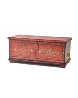 Truhla z teakového dřeva, ručně malovaná, 112x46x49cm