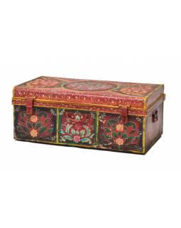 Plechový kufr, ručně malovaný, 77x44x30cm