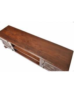 Komoda pod TV z teakového dřeva ručně vyřezávaná, 180x43x60cm