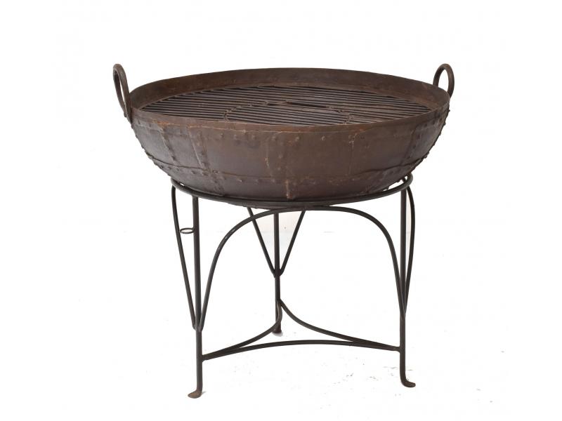 """Kovová mísa/ohniště """"Kadai"""" s roštem na stojanu, 86x86x79cm"""