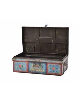 Plechový kufr, ručně malovaný, 77x45x27cm