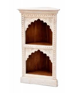 Rohová knihovna z mangového dřeva, ruční řezby, 50x40x93cm