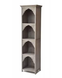 Knihovna z mangového dřeva, ruční řezby, 50x40x180cm