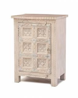 Noční stolek z mangového dřeva, bílá patina, 52x40x78cm