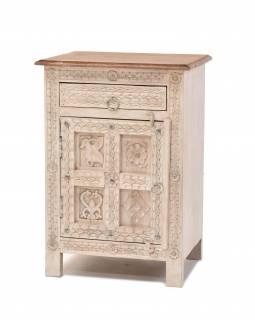 Noční stolek z mangového dřeva, bílá patina, 50x48x70cm