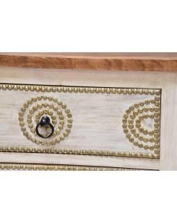 Šuplíková komoda z mangového dřeva, bílá patina, 50x42x95cm