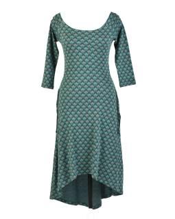 Zelené dlouhé šaty s tříčtvrtečním rukávem, geometrický potisk, bio bavlna