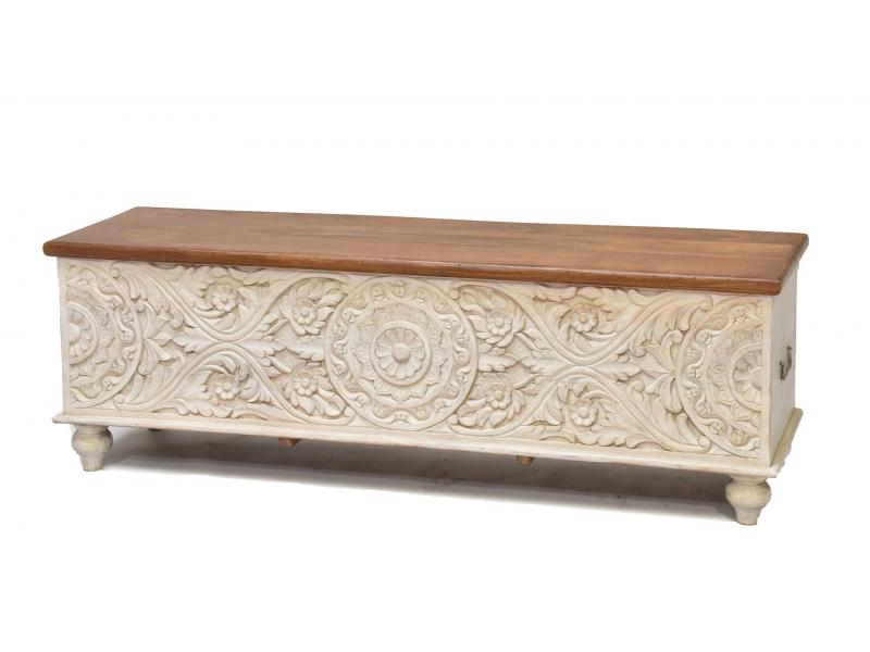 Dřevěná truhla z mangového dřeva zdobená ruční řezbou,, 150x43x45cm