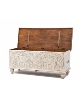 Truhla z mangového dřeva, zdobená ručními řezbami, 118x43x45cm