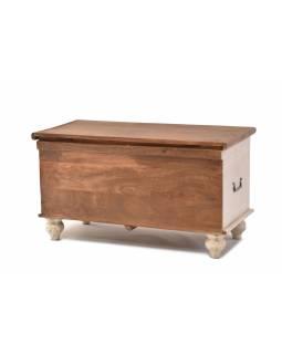Truhla z mangového dřeva zdobená ručními řezbami, 90x43x45cm