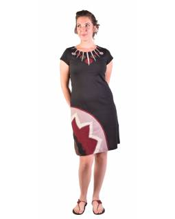 Krátké šaty s krátkým rukávem, černo-vínovo-béžové, kolečka
