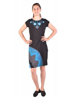 Krátké šaty s krátkým rukávem, černo-modro-šedivé, kolečka