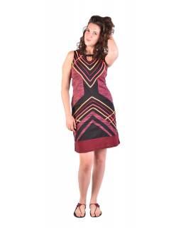 Krátké šaty bez rukávu, černo-vínovo-růžové, design proužky, Bio bavlna s lycro