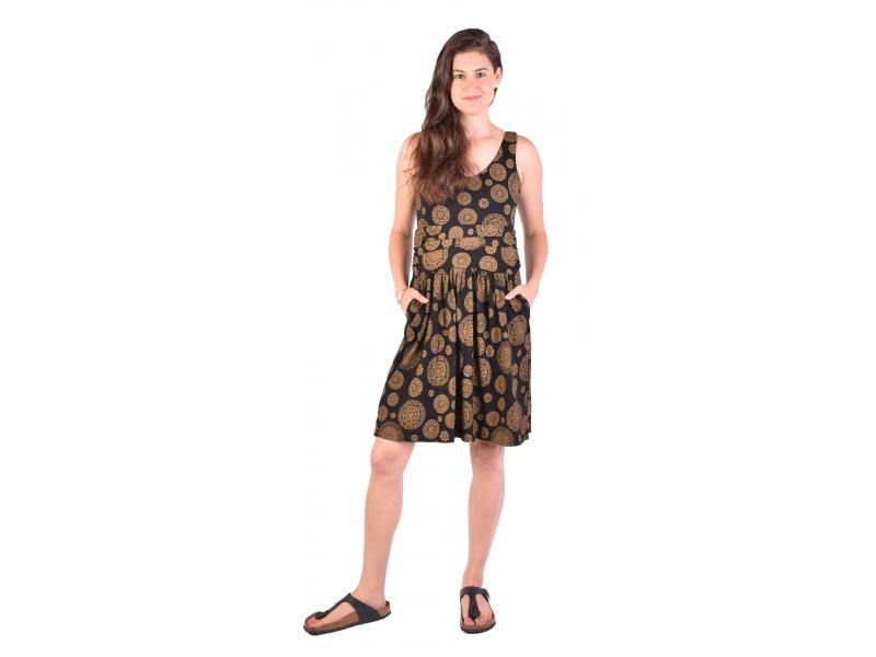 Krátké šaty bez rukávu, černé, žlutý potisk mandal