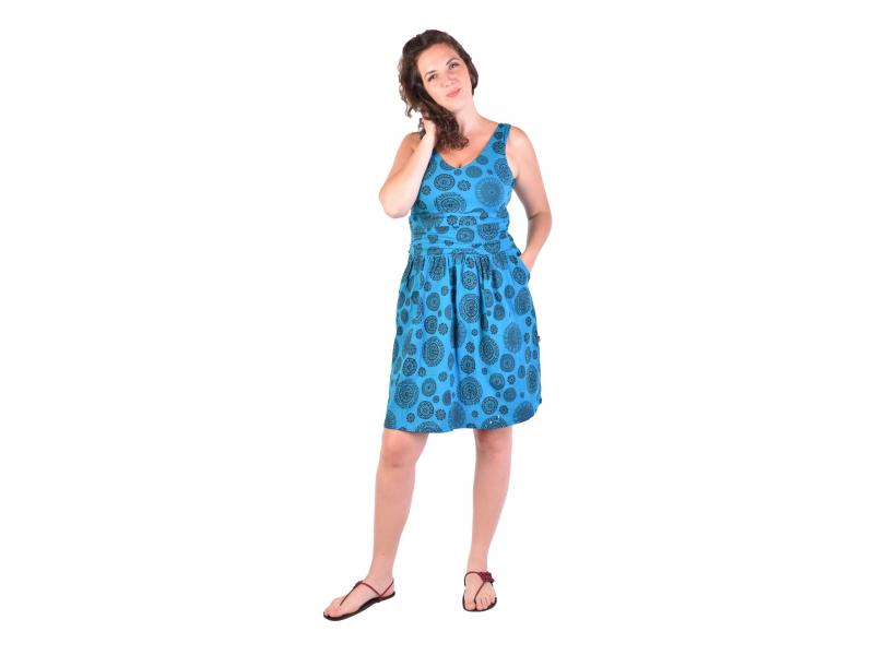 Krátké šaty bez rukávu, tyrkysové, černý potisk mandal