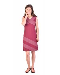 Krátké šaty bez rukávů, vínové s bílými tečkami, bio bavlna s lycrou