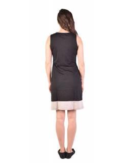 Krátké šaty bez rukávu, černo-bílo-šedivé, design proužky, Bio bavlna s lycrou