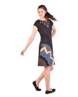 Krátké šaty s krátkým rukávem, černo-žluto-šedivé, kolečka