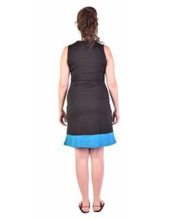 Krátké šaty bez rukávu, černo-zelené, design proužky, Bio bavlna s lycrou