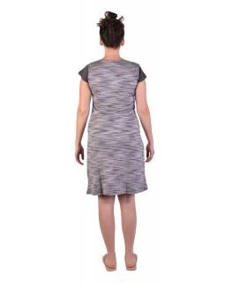 Krátké šaty s krátkým rukávem, šedivo-černé, šedivý melír, potisk