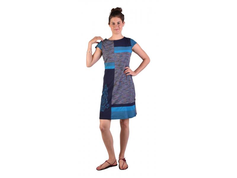 Krátké šaty s krátkým rukávem, tyrkysovo-modré, fialovo-modrý melír, potisk