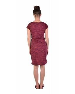 Krátké šaty s krátkým rukávem, vínovo-červené, vínový melír, potisk