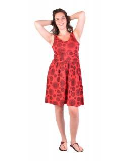 Krátké šaty bez rukávu, červené, černý potisk mandal