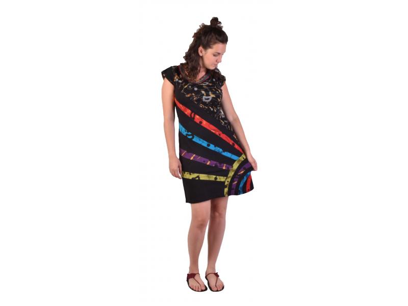Krátké šaty s krátkým rukávem, černé s potiskem a barevnými pruhy