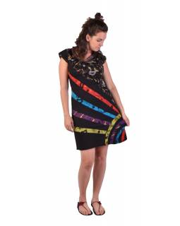 Krátké šaty s krátkým rukávem, černé s potiskem a barevným designem