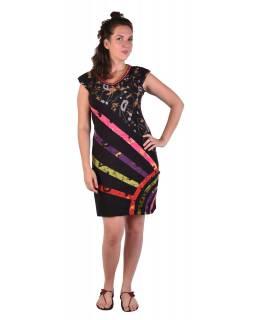 Krátké černé šaty s krátkým rukávem, s potiskem a barevným designem