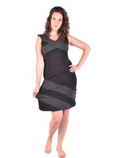 Krátké šaty bez rukávů, černé s bílými tečkami, bio bavlna s lycrou