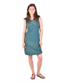 Krátké šaty bez rukávů, smaragdově zelené s bílými tečkami, bio bavlna s lycrou