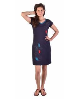 Krátké tmavě modré šaty, krátký rukáv, potisk