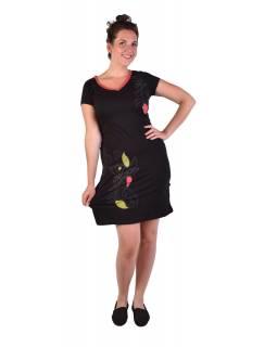 Krátké černé šaty, krátký rukáv, potisk