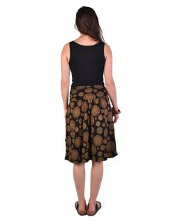 Delší sukně s kapsami, černá s Chakra potiskem, elastický pas