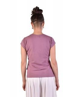 Starorůžové tričko s krátkým rukávem, potisk, průstřih ve výstřihu, Bio Bavlna