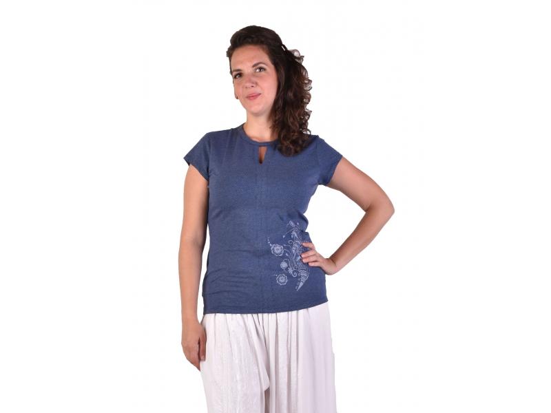 Modré tričko s krátkým rukávem, potisk, průstřih ve výstřihu, Bio Bavlna