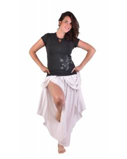 Černé tričko s krátkým rukávem, potisk, průstřih ve výstřihu, Bio Bavlna