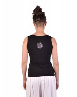 Černé tílko, potisk a výšivka mandala, Bio Bavlna s lycrou