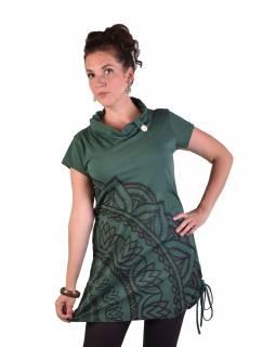 Dlouhé lahvově zelené tričko s krátkým rukávem, potisk Mandala, límec