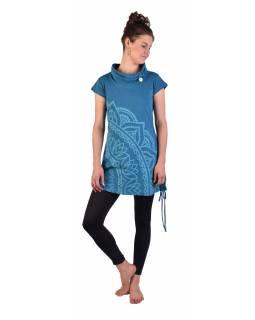 Dlouhé petrolejové tričko s krátkým rukávem, potisk Mandala, límec