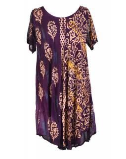 Krátké fialové šaty s rukávkem, výšivka, potisk